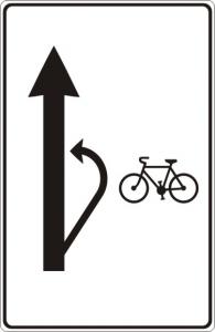 Návěst doporučeného způsobu odbočení cyklistů vlevo